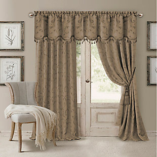 "Home Accents Mia Jacquard Scroll Blackout Window Curtain Panel, Taupe, 52"" x 95"", Taupe, large"