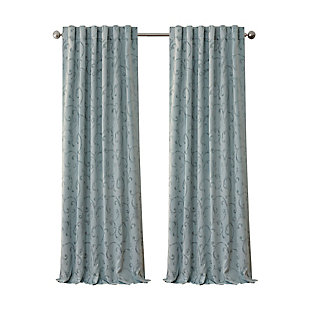 "Home accents Mia Jacquard Scroll Blackout Window Curtain Panel, Blue, 52"" x 84"", Blue, rollover"