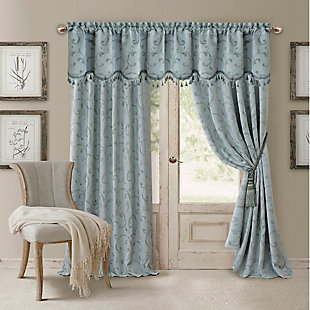 "Home accents Mia Jacquard Scroll Blackout Window Curtain Panel, Blue, 52"" x 84"", Blue, large"