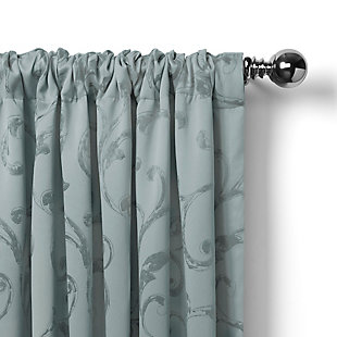 """Home accents Mia Jacquard Scroll Blackout Window Curtain Panel, Blue, 52"""" x 84"""", Blue, large"""