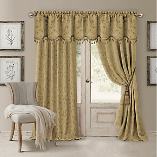 "Home accents Mia Jacquard Scroll Blackout Window Curtain Panel, Gold, 52"" x 84"", Gold, large"