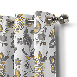 """Home Accents Sorrento Room Darkening Window Curtain, Gray/Gold, 52""""x95"""", Gold, large"""