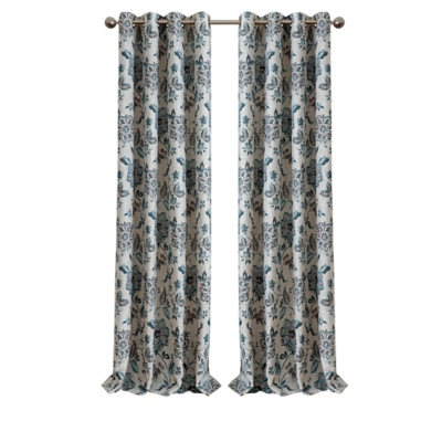"""Home Accents Sorrento Room Darkening Window Curtain, Blue/Taupe, 52""""x84"""", Blue, large"""