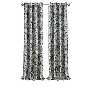 "Home Accents Sorrento Room Darkening Window Curtain, Blue/Taupe, 52""x84"", Blue, rollover"