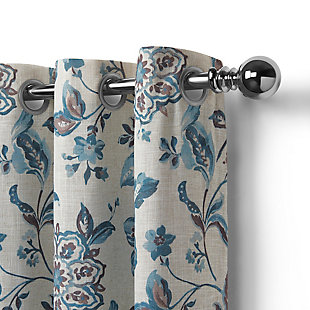 "Home Accents Sorrento Room Darkening Window Curtain, Blue/Taupe, 52""x84"", Blue, large"
