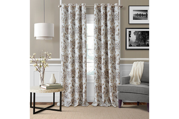 """Home Accents Sorrento Room Darkening Window Curtain, Natural, 52""""x84"""", Natural, large"""