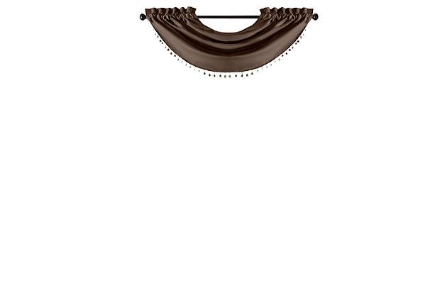 "Home Accents Vanderbilt Beaded Waterfall Valance, Chocolate, 42"" x 22"", Chocolate, large"