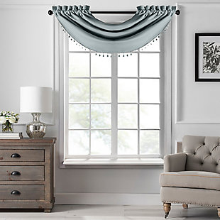 "Home Accents Vanderbilt Beaded Waterfall Valance, River Blue, 42"" x 22"", River Blue, large"