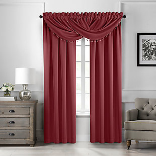 "Home Accents Vanderbilt Beaded Waterfall Valance, Red, 42"" x 22"", Red, large"