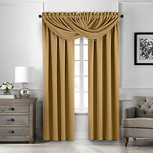 """Home Accents Vanderbilt Beaded Waterfall Valance, Gold, 42"""" x 22"""", Gold, large"""