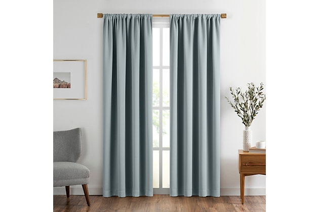 "Home Accents Vanderbilt Extra Wide Blackout Window Curtain Panel, River Blue, 52"" x 84"", River Blue, large"