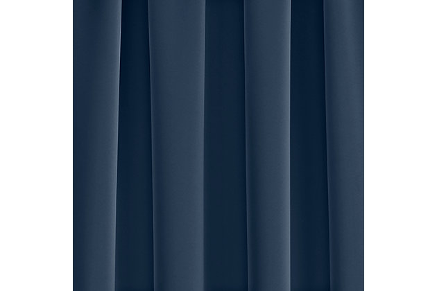 """Home Accents Vanderbilt Extra Wide Blackout Window Curtain Panel, Navy, 52"""" x 84"""", Navy, large"""