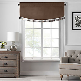 "Home Accents Vanderbilt Scallop Tassel Window Valance, Chocolate, 50"" x 19"", Chocolate, large"