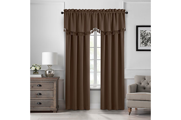 "Home Accents Vanderbilt Scallop Tassel Window Valance, Chocolate, 50"" x 19"", Chocolate, large"