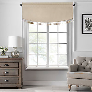 "Home Accents Vanderbilt Scallop Tassel Window Valance, Natural, 50"" x 19"", Natural, large"