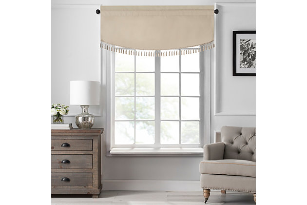 "Home Accents Vanderbilt Scallop Tassel Window Valance, Natural, 50"" x 19"", Natural, large"