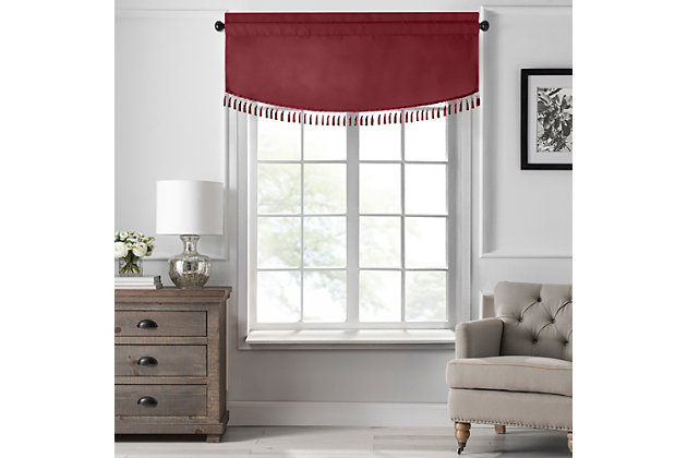 "Home Accents Vanderbilt Scallop Tassel Window Valance, Red, 50"" x 19"", Red, large"