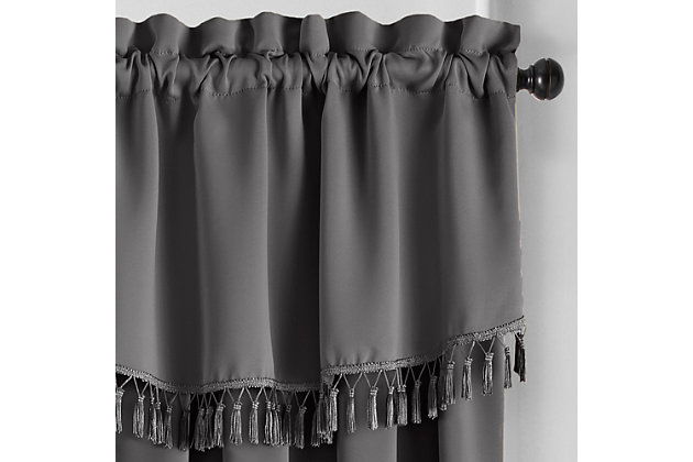 "Home Accents Vanderbilt Scallop Tassel Window Valance, Charcoal, 50"" x 19"", Charcoal, large"