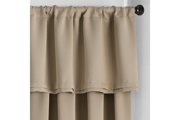 """Home Accents Vanderbilt Straight Pleated Window Valance, Natural, 50"""" x 18"""", Natural, large"""