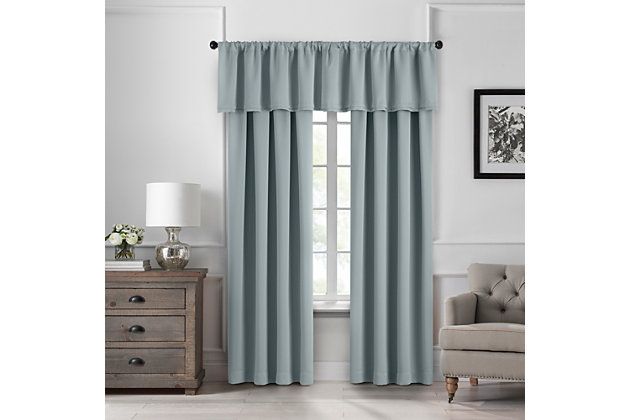 "Home Accents Vanderbilt Straight Pleated Window Valance, River Blue, 50"" x 18"", River Blue, large"