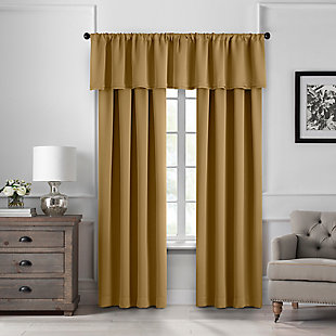 """Home Accents Vanderbilt Straight Pleated Window Valance, Gold, 50"""" x 18"""", Gold, large"""