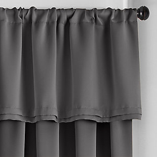 """Home Accents Vanderbilt Straight Pleated Window Valance, Charcoal, 50"""" x 18"""", Charcoal, large"""