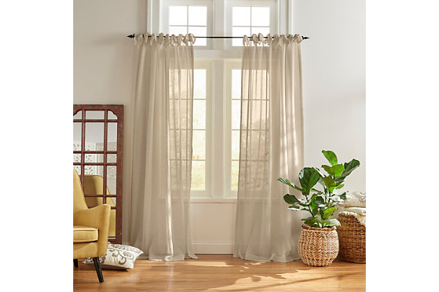 "Home Accents Vienna Tie-Top Sheer Window Curtain Panel, Flax, 52"" x 95"", Flax, large"