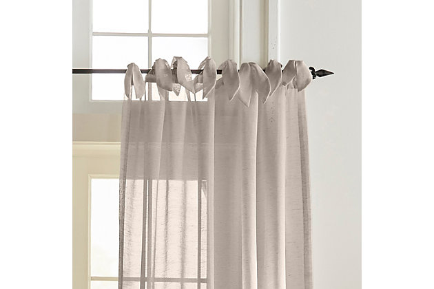 """Home Accents Vienna Tie-Top Sheer Window Curtain Panel, Light Gray, 52"""" x 95"""", Light Gray, large"""