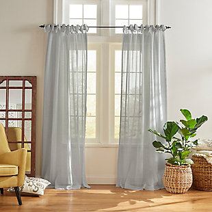 "Home Accents Vienna Tie-Top Sheer Window Curtain Panel, Dusty Blue, 52"" x 84"", Dusty Blue, large"