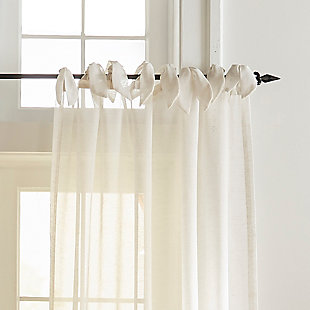 """Home Accents Vienna Tie-Top Sheer Window Curtain Panel, Off-White, 52"""" x 84"""", Off White, large"""