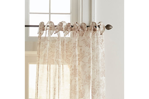 """Home Accents Westport Floral Tie-Top Sheer Window Curtain Panel, Flax, 52"""" x 95"""", Flax, large"""