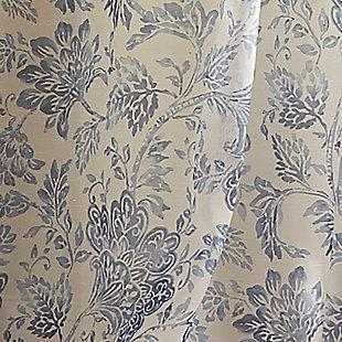 "Home Accents Westport Floral Tie-Top Sheer Window Curtain Panel, Indigo, 52"" x 95"", Indigo, large"