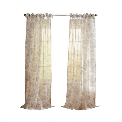 """Home Accents Westport Floral Tie-Top Sheer Window Curtain Panel, Gray, 52"""" x 84"""", Gray, large"""