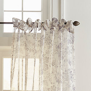 "Home Accents Westport Floral Tie-Top Sheer Window Curtain Panel, Gray, 52"" x 84"", Gray, large"