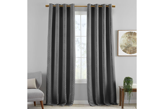 """Home Accents Huxley Geometric Blackout Embroidered Textured Window Curtain Panel, Gray, 52"""" x 95"""", Gray, large"""