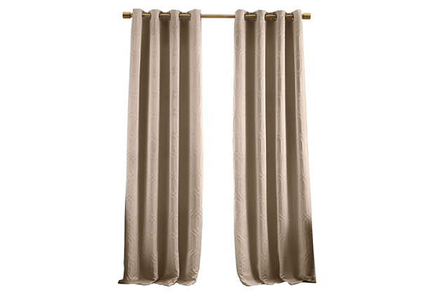 """Home Accents Huxley Geometric Blackout Embroidered Textured Window Curtain Panel, Taupe, 52"""" x 95"""", Taupe, large"""