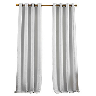 "Home Accents Huxley Geometric Blackout Embroidered Textured Window Curtain Panel, White, 52"" x 84"", White, rollover"