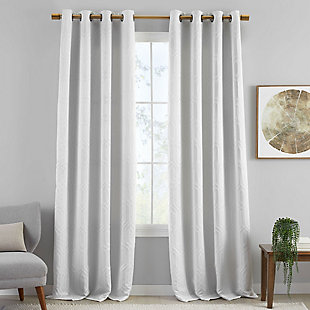 "Home Accents Huxley Geometric Blackout Embroidered Textured Window Curtain Panel, White, 52"" x 84"", White, large"