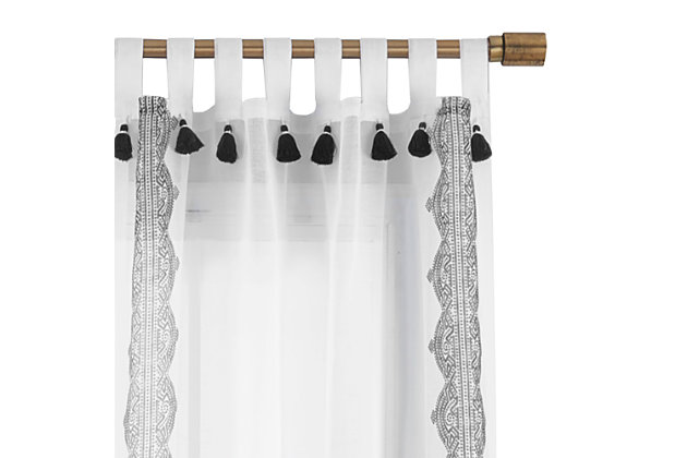 """Home Accents Shilo Boho Sheer Tab Top Window Curtain Panel with Tassels, Black, 52"""" x 84"""", Black, large"""