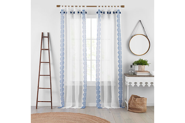 "Home Accents Shilo Boho Sheer Tab Top Window Curtain Panel with Tassels, Indigo, 52"" x 84"", Indigo, large"