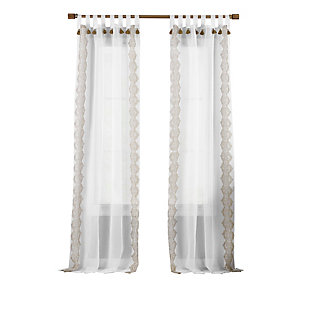 "Home Accents Shilo Boho Sheer Tab Top Window Curtain Panel with Tassels, Linen, 52"" x 84"", Linen, rollover"