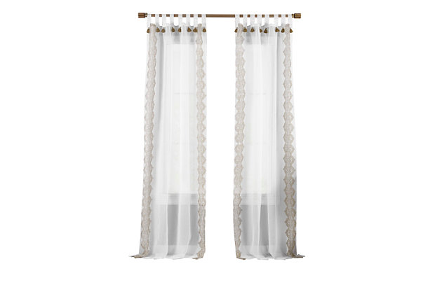 """Home Accents Shilo Boho Sheer Tab Top Window Curtain Panel with Tassels, Linen, 52"""" x 95"""", Linen, large"""
