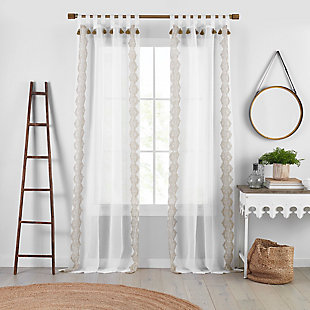 "Home Accents Shilo Boho Sheer Tab Top Window Curtain Panel with Tassels, Linen, 52"" x 84"", Linen, large"