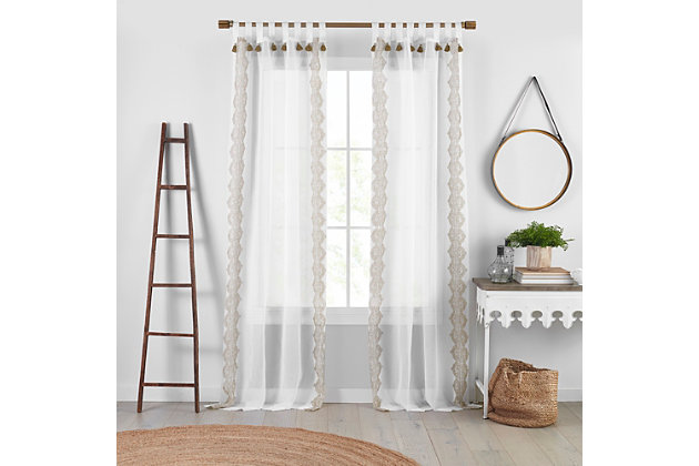 """Home Accents Shilo Boho Sheer Tab Top Window Curtain Panel with Tassels, Linen, 52"""" x 84"""", Linen, large"""