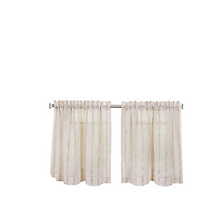 "Home Accents Linen Stripe Rod Pocket Kitchen Tier Window Curtain Set of 2, Linen, 30"" x 36"", Linen, rollover"