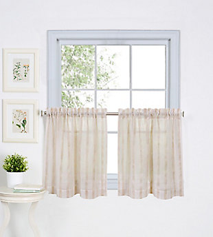 "Home Accents Linen Stripe Rod Pocket Kitchen Tier Window Curtain Set of 2, Linen, 30"" x 36"", Linen, large"