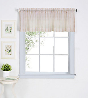 "Home Accents Linen Stripe Rod Pocket Window Kitchen Valance, Linen, 60"" x 15"", , large"