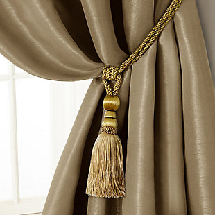 """Home Accents Amelia Decorative Tassel Window Curtain Tieback, Gold, 24"""", Gold, large"""