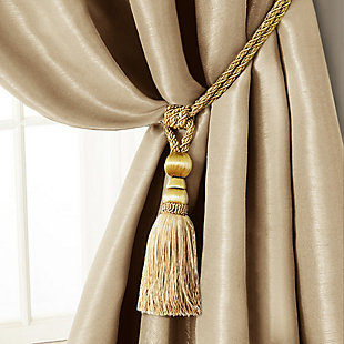 """Home Accents Amelia Decorative Tassel Window Curtain Tieback, Natural, 24"""", Natural, large"""