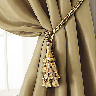 "Home Accents Charlotte Decorative Tassel  Window Curtain Tieback, Gold, 24"", Gold, large"